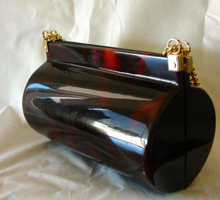 Retro Tano of Madrid Tortoise Lucite Handbag Purse 1950s New Deadstock Tags  In New Condition For Sale In Port Saint Lucie, FL