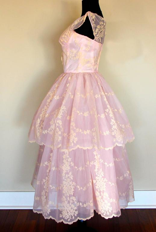 Beige c1950s Baby Pink Taffeta + Tulle Party Dress with Tiered Skirt Size S For Sale