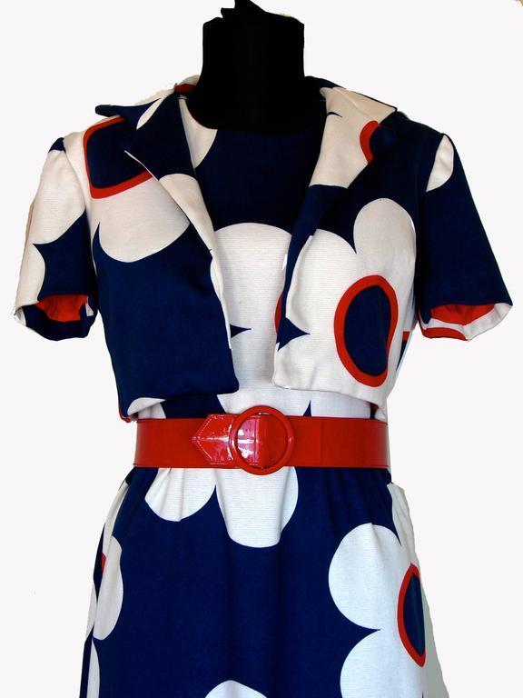 9c79514b41e Mod Bold Graphic Print Maxi Dress Jacket + Belt Ensemble Lord + Taylor  1960s For Sale