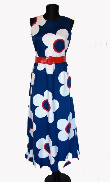 6eeb5a3c6f7 Women s Mod Bold Graphic Print Maxi Dress Jacket + Belt Ensemble Lord +  Taylor 1960s For