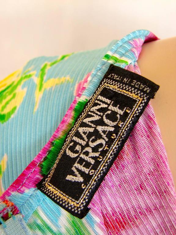 Versace Couture Turquoise Floral Print Dress Long 1995 Sz 44 Rare 10
