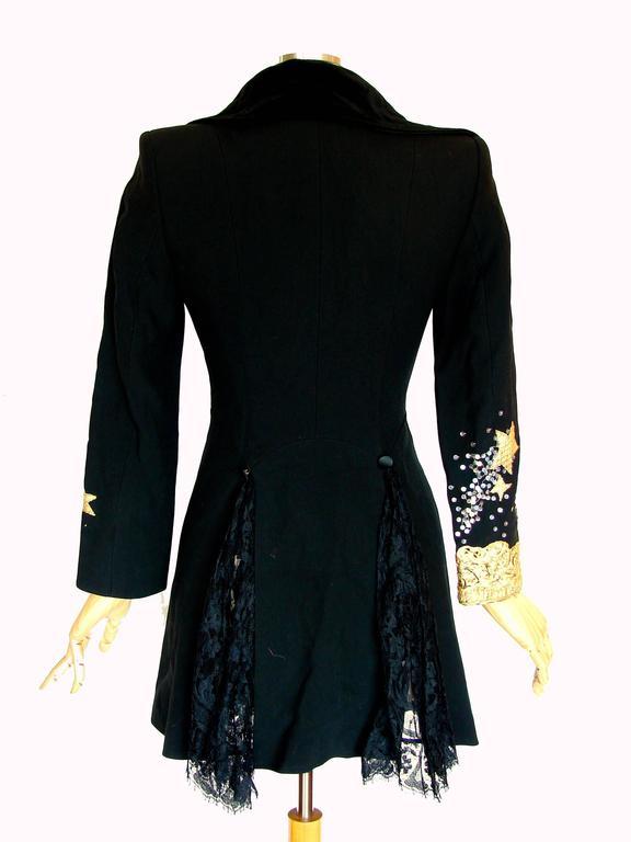 Christian LaCroix Long Jacket Black Velvet Embroidery Lace Sequins Stars 80s 38 8