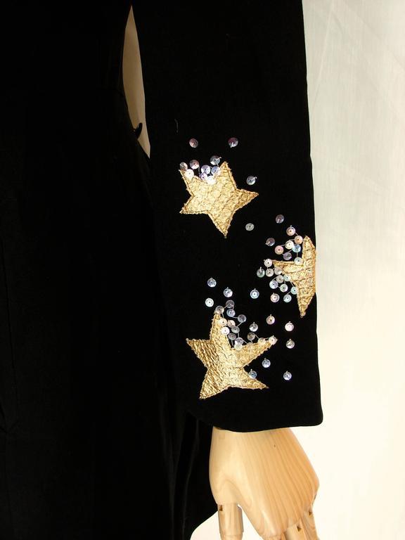 Christian LaCroix Long Jacket Black Velvet Embroidery Lace Sequins Stars 80s 38 7
