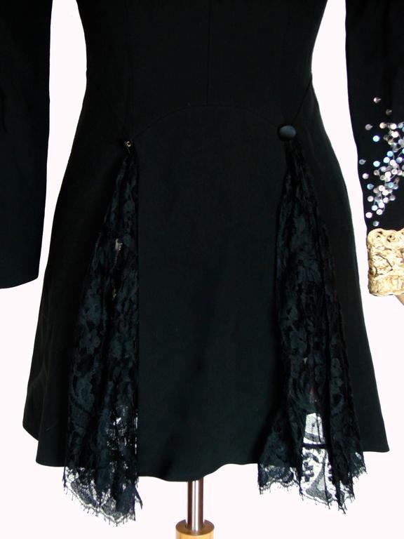 Christian LaCroix Long Jacket Black Velvet Embroidery Lace Sequins Stars 80s 38 9
