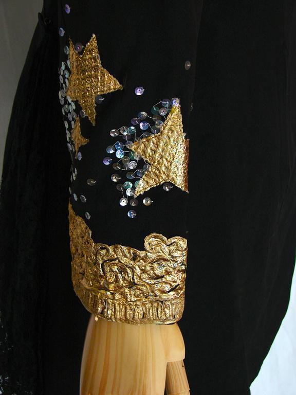 Christian LaCroix Long Jacket Black Velvet Embroidery Lace Sequins Stars 80s 38 6
