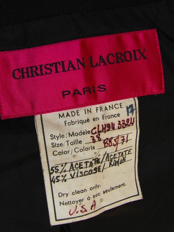 Christian LaCroix Long Jacket Black Velvet Embroidery Lace Sequins Stars 80s 38 10