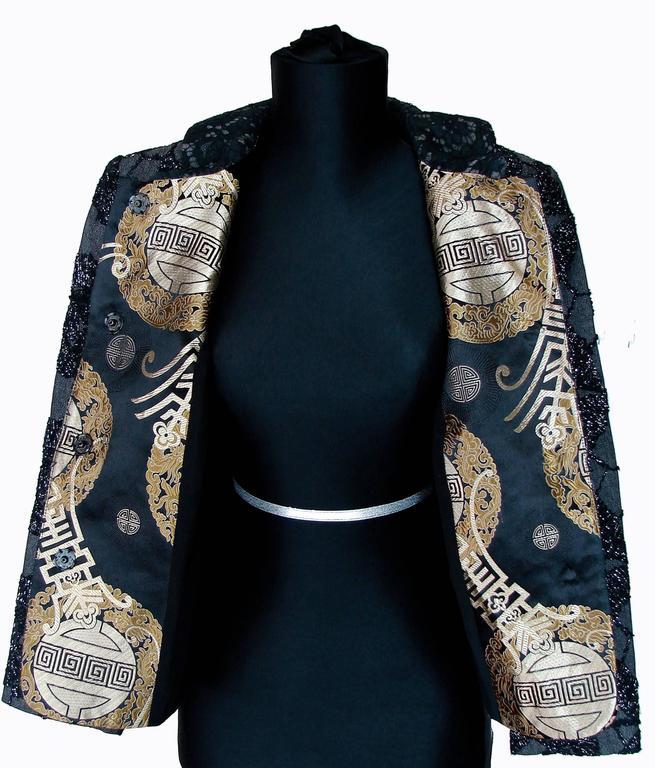 rare tomasz starzewski black oriental cropped jacket with embroidery size 8 90s for sale at 1stdibs
