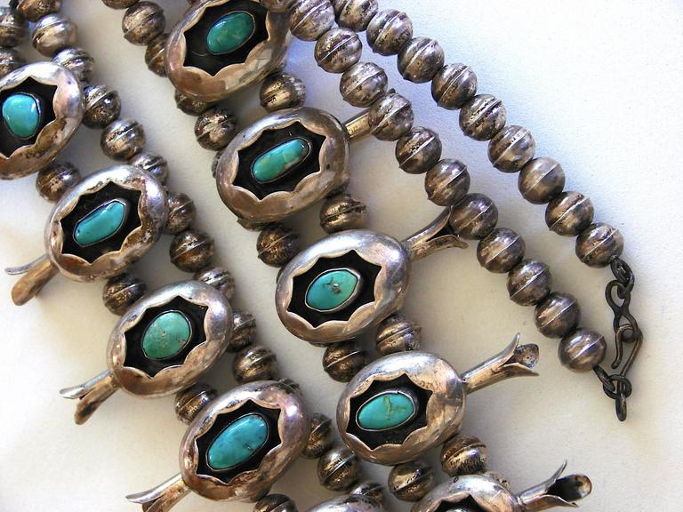 Shadowbox Squash Blossom Sterling Silver And Turquoise Navajo Necklace, 1970s  For Sale 2