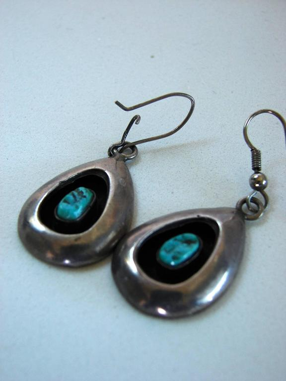 Women's Sterling Silver + Turquoise Earrings Shadowbox 1970s  For Sale