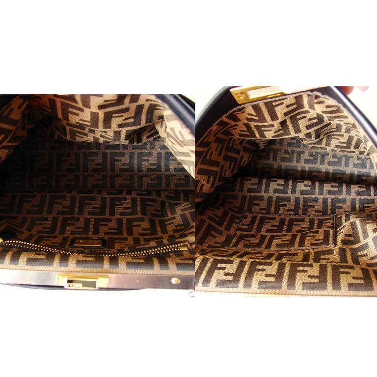 Iconic Fendi Large Black Leather Peekaboo Bag Tote Satchel with Zucca Lining 5