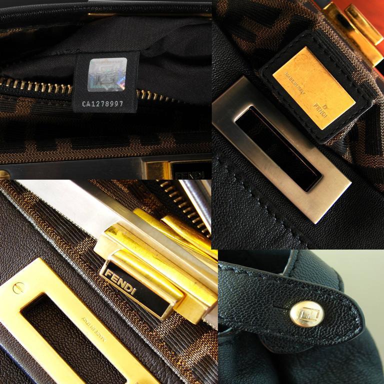Iconic Fendi Large Black Leather Peekaboo Bag Tote Satchel with Zucca Lining 6