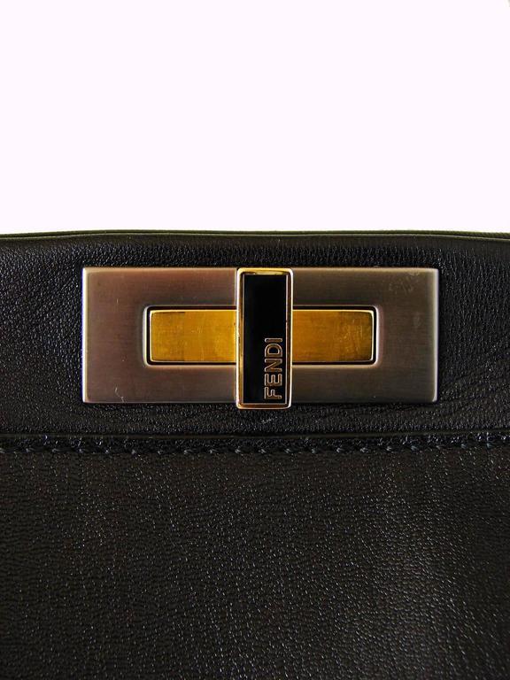 Iconic Fendi Large Black Leather Peekaboo Bag Tote Satchel with Zucca Lining 3
