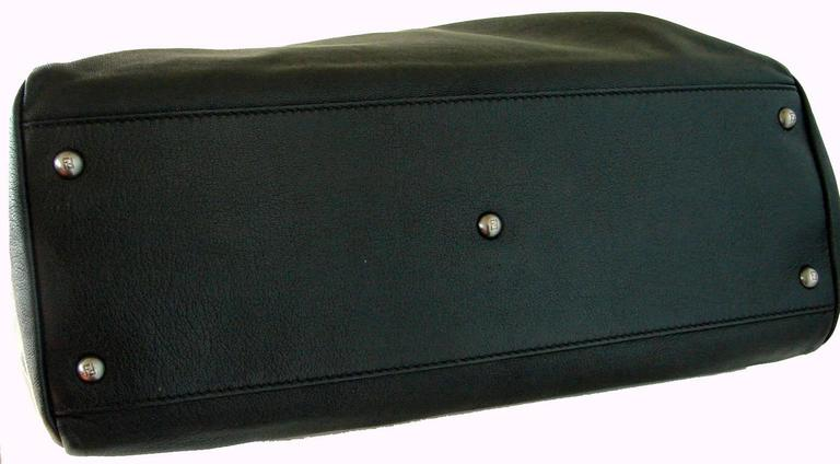 Iconic Fendi Large Black Leather Peekaboo Bag Tote Satchel with Zucca Lining 4