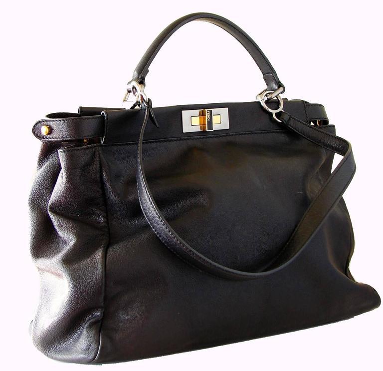 Iconic Fendi Large Black Leather Peekaboo Bag Tote Satchel with Zucca Lining 1
