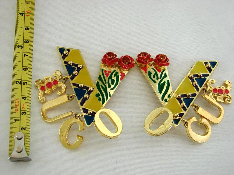 Women's Original Gianni Versace Large Vogue Cover Earrings Enamel with Roses 1990s + Box For Sale