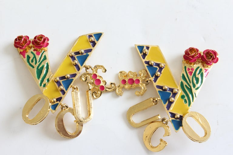 Contemporary Original Gianni Versace Large Vogue Cover Earrings Enamel with Roses 1990s + Box For Sale