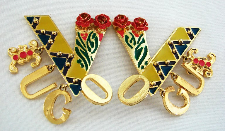 Original Gianni Versace Large Vogue Cover Earrings Enamel with Roses 1990s + Box For Sale 4