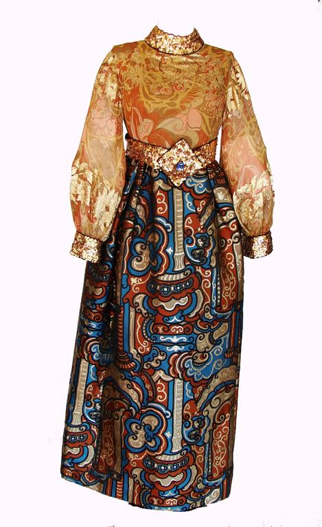 Exquisite Burke Amey Evening Gown Gold Silk + Bold Brocade Tapestry + Belt 70s S 4