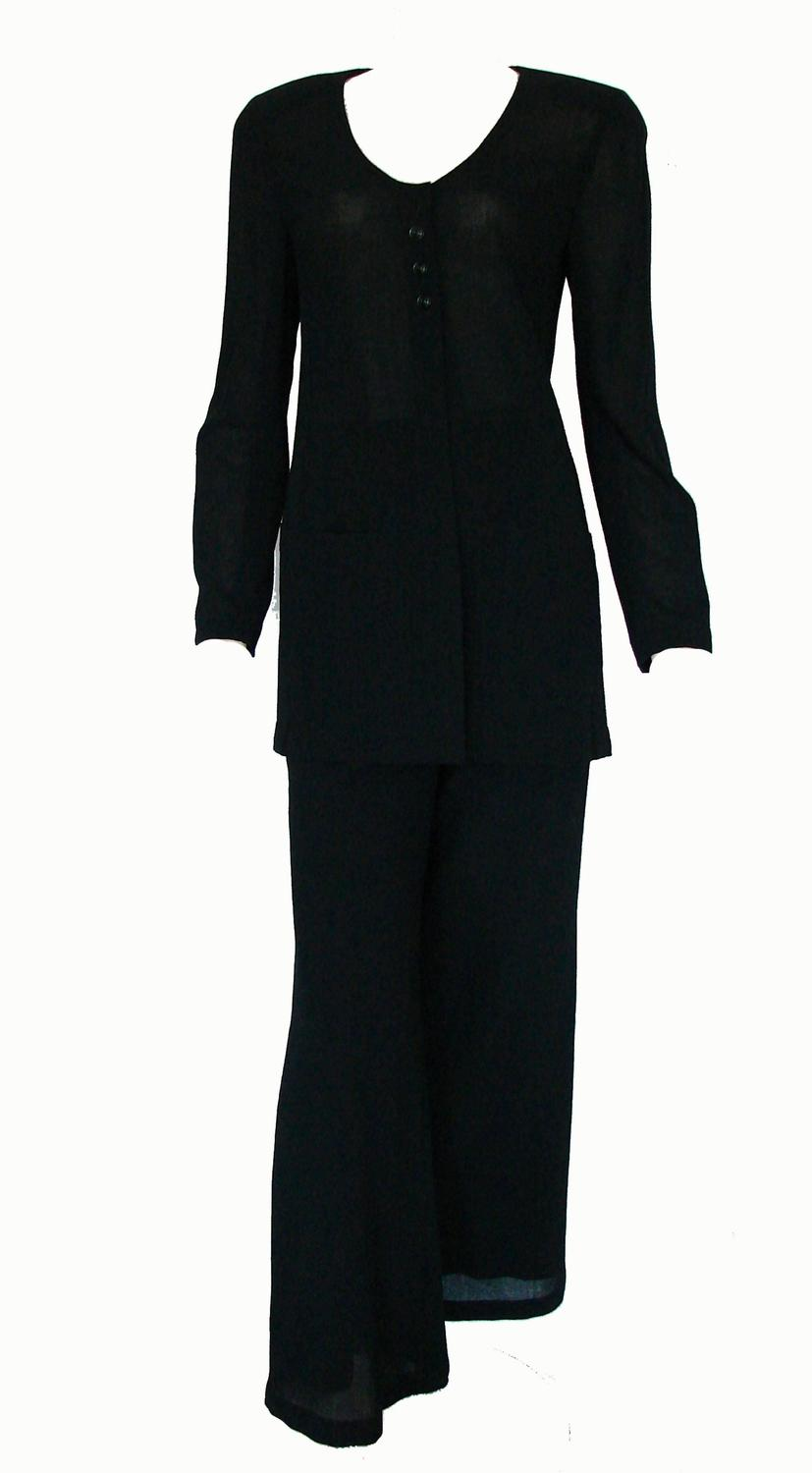 Chanel Black Sheer Wool Crepe Jacket and Pant Suit 2pc ...