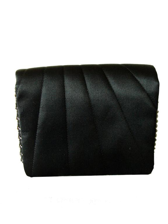 Chanel Evening Bag Black Stitched Silk Satin + Leather Chain Mirror Detail 2002 3