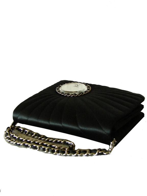 Chanel Evening Bag Black Stitched Silk Satin + Leather Chain Mirror Detail 2002 4