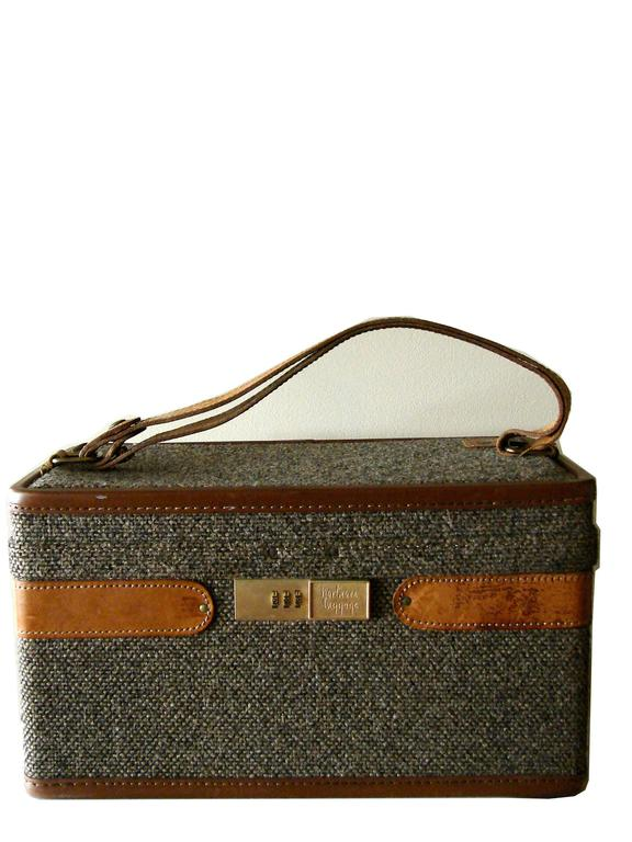 1970s Hartmann Tweed + Leather Train Case with Toile ...