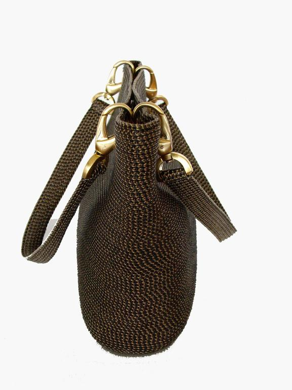 Eric Javits Black And Gold Woven Tote Bag Squishee Clip