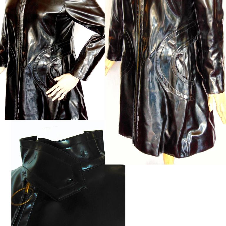 Pierre Cardin Space Age Black Vinyl Coat with Red Contrast Lining Mod 60s Sz S/M 8