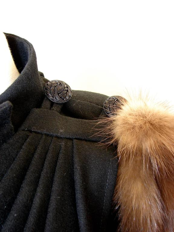 Long Black Wool Cape With Fur Collar Detail And Draping