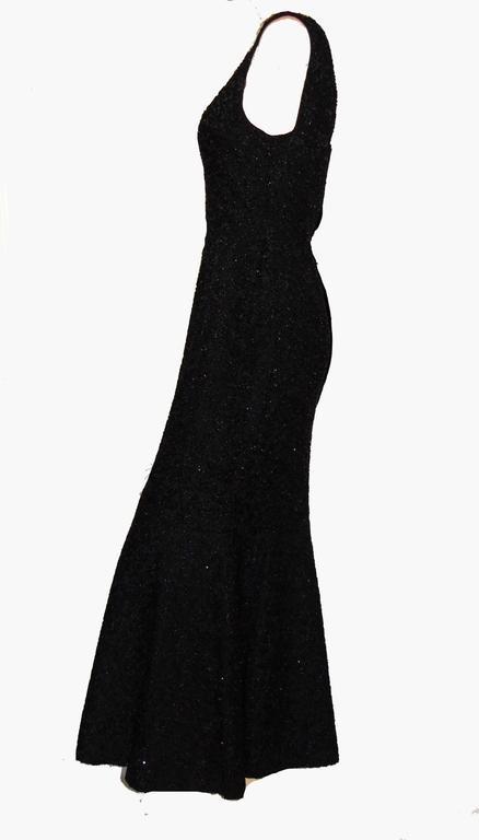 1051ee219b7f Women's Rare Mermaid Evening Gown Fishtail Hem Black Beaded Brocade 1960s  Sz S For Sale