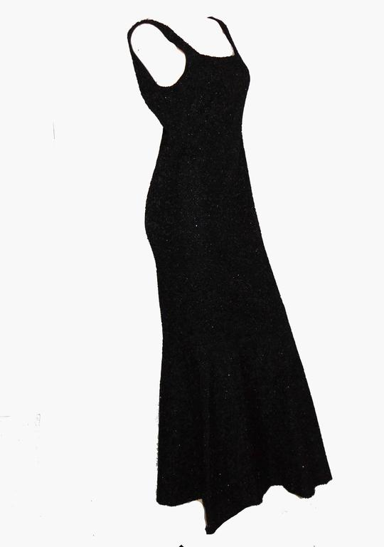 90b3b772da64 Rare Mermaid Evening Gown Fishtail Hem Black Beaded Brocade 1960s Sz S In  Excellent Condition For