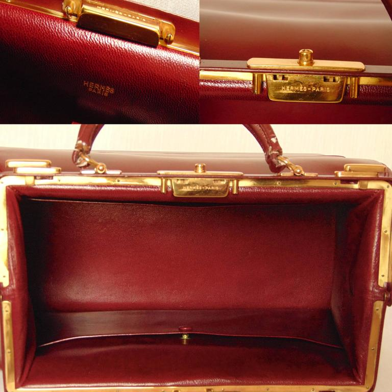 Hermes Sac Mallette Jewelry Box Travel Case Cordovan Box Leather Vintage 1970s For Sale 2
