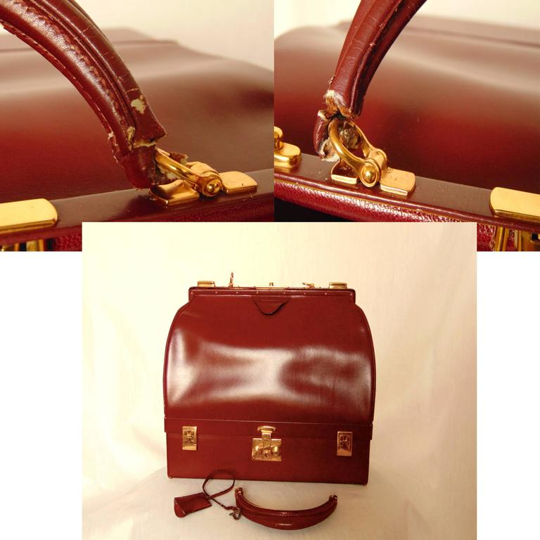 Hermes Sac Mallette Jewelry Box Travel Case Cordovan Box Leather Vintage 1970s For Sale 4