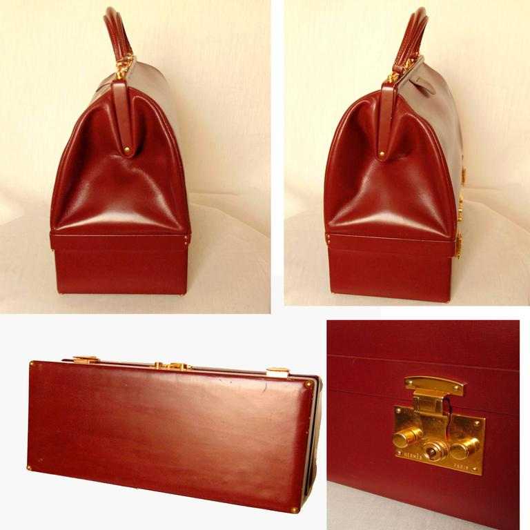 Hermes Sac Mallette Jewelry Box Travel Case Cordovan Box Leather Vintage 1970s For Sale 3