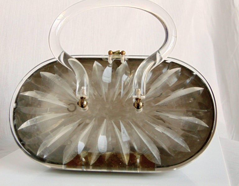Women's 1950s Oval Shaped Lucite Handbag Purse by Rialto New York