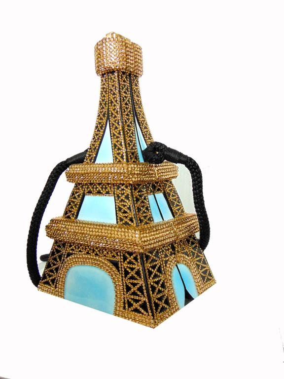 Beige Timmy Woods Beverly Hills Embellished Eiffel Tower Bag Limited Edition Signed  For Sale