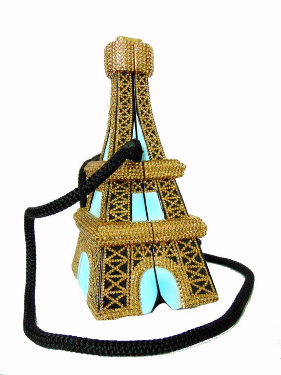 Timmy Woods Beverly Hills Embellished Eiffel Tower Bag Limited Edition Signed  In Excellent Condition For Sale In Port Saint Lucie, FL