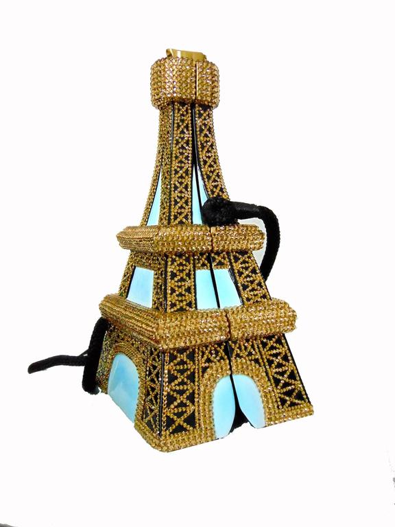 Women's Timmy Woods Beverly Hills Embellished Eiffel Tower Bag Limited Edition Signed  For Sale