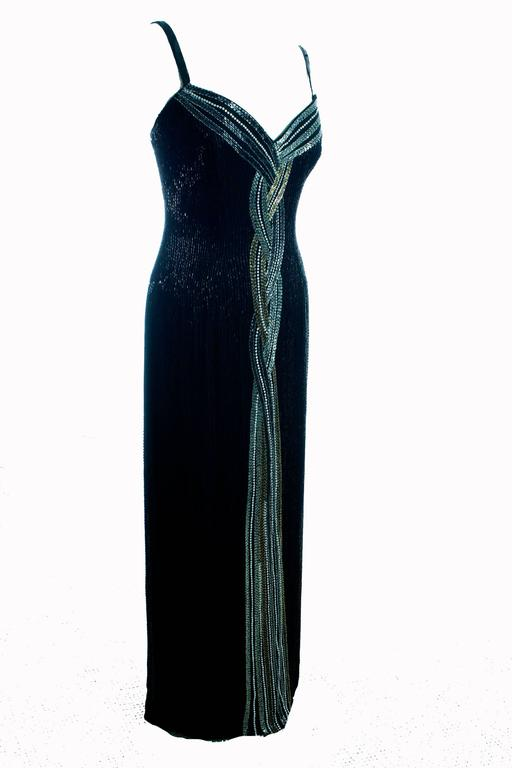 Classic Bob Mackie Black Beaded Evening Gown Silver Gold Braid Detail Sz10 1980s 5
