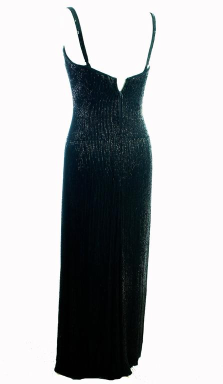 Classic Bob Mackie Black Beaded Evening Gown Silver Gold Braid Detail Sz10 1980s 4