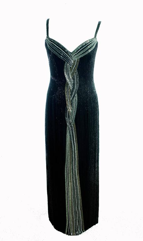 Classic Bob Mackie Black Beaded Evening Gown Silver Gold Braid Detail Sz10 1980s 2