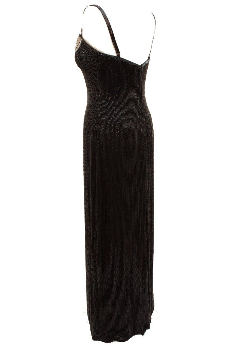 Iconic Bob Mackie Evening Gown Embellished Black Silk Sleeveless Sz10 80s 5