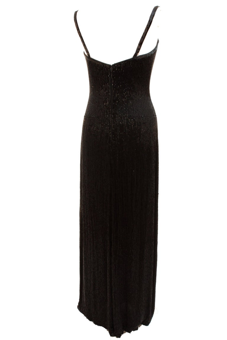 Iconic Bob Mackie Evening Gown Embellished Black Silk Sleeveless Sz10 80s 4