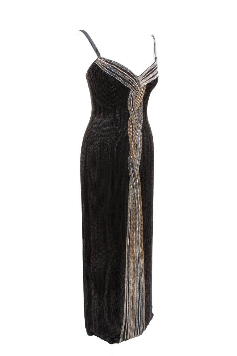 Iconic Bob Mackie Evening Gown Embellished Black Silk Sleeveless Sz10 80s 3