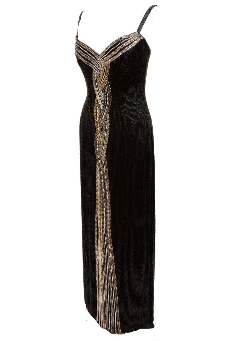 Iconic Bob Mackie Evening Gown Embellished Black Silk Sleeveless Sz10 80s 6