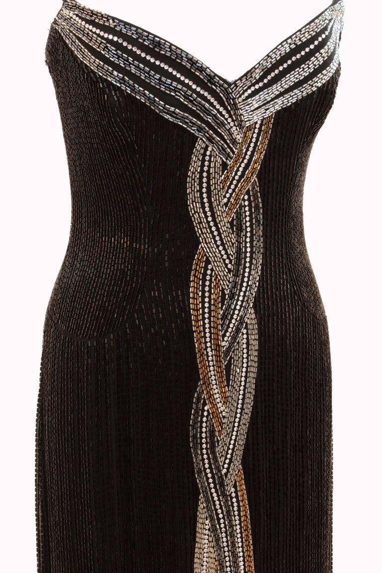 Iconic Bob Mackie Evening Gown Embellished Black Silk Sleeveless Sz10 80s 7
