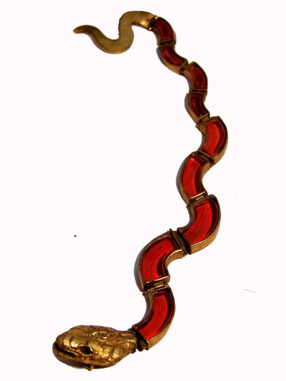 Chanel Red Poured Glass Serpent Bracelet Goossens Gilt Metal Pate de Verre 1970 2