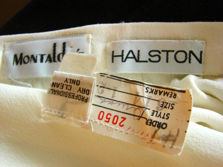 70s Halston Silk Wrap Skirt Creme White Crepe Tulip Documented Montaldo's Sz 12 8
