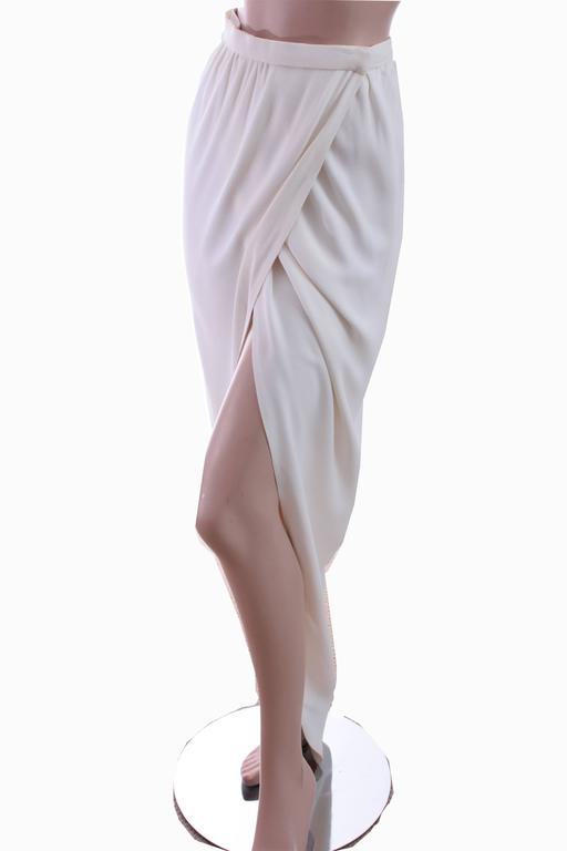 70s Halston Silk Wrap Skirt Creme White Crepe Tulip Documented Montaldo's Sz 12 2