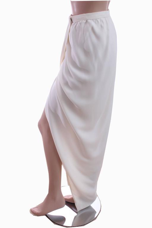 70s Halston Silk Wrap Skirt Creme White Crepe Tulip Documented Montaldo's Sz 12 3